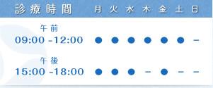 休日は木曜の午後、土曜の午後、日曜、午前診療はAM9時から12時まで、午後診療はPM15時から18時までとなっております。